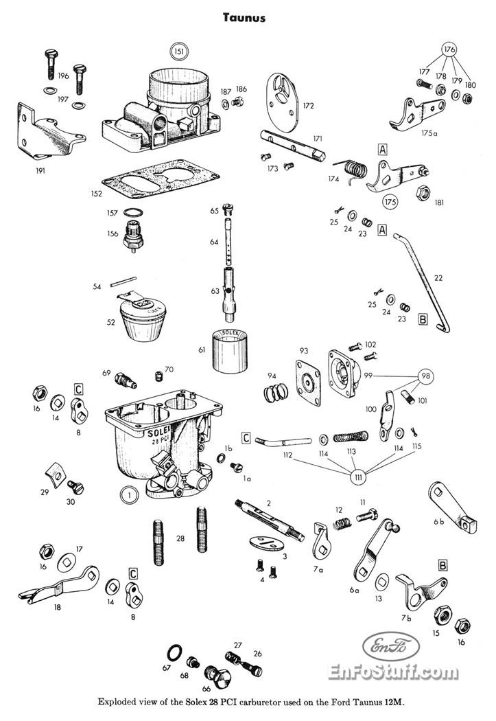 Ajuste de Motor: Despiece Carburador Solex 28 PCI [Ford